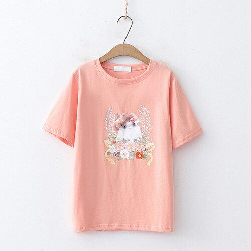 釘珠花朵印花圓領短袖T恤(4色F碼)【OREAD】 2