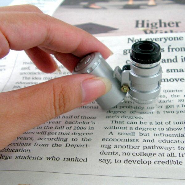 【aife life】A0080超迷你60倍顯微鏡、驗鈔燈,NO.9882型號 附LED燈、可調焦距 0