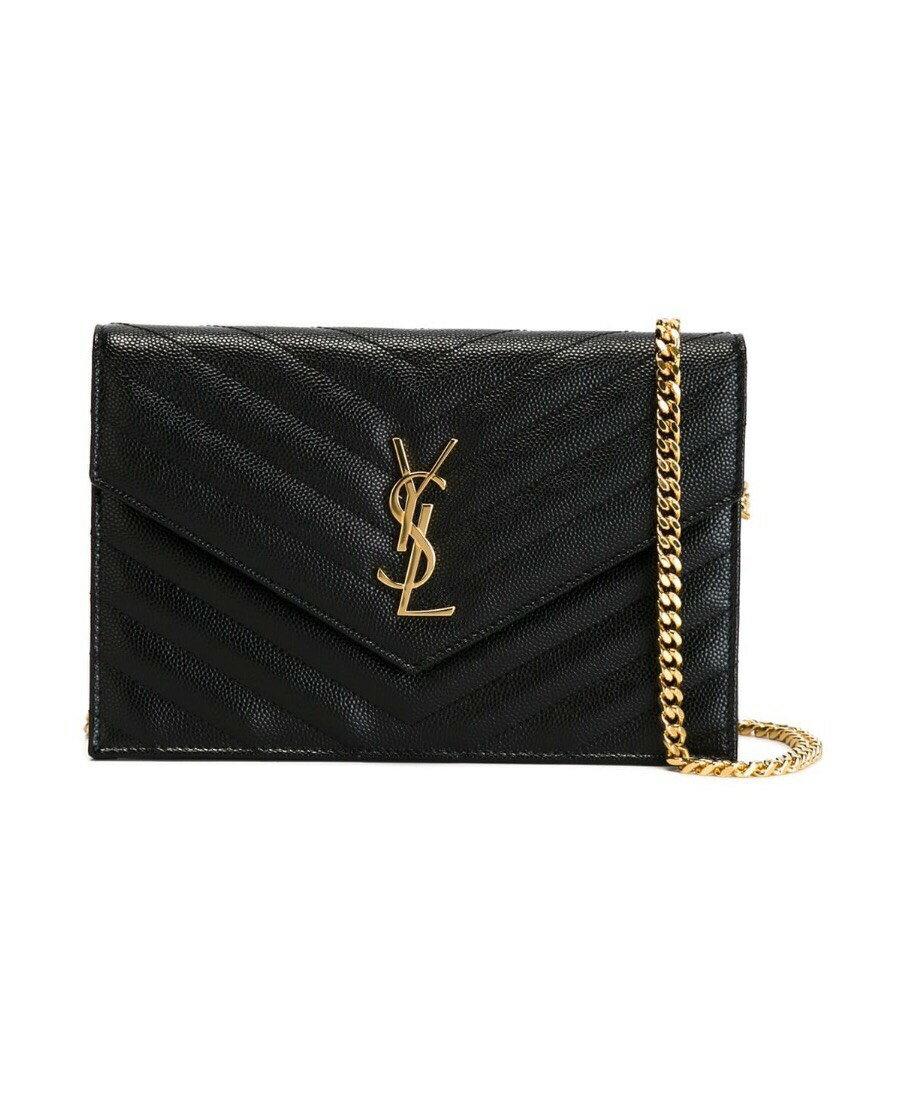 SAINT LAURENT YSL黑色徽標絎縫鏈條WOC 尺寸19*3.5*12.5cm $3xxxx. 私