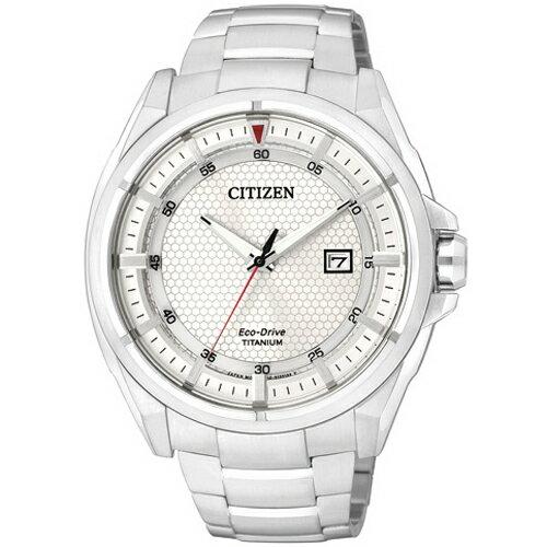 CITIZEN星辰AW1401-50A清雅超級鈦光動能腕錶/白面43mm