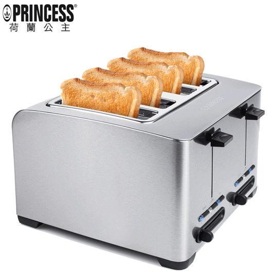 95折起  Princess 荷蘭公主 不鏽鋼 四片式烤麵包機 吐司機 142397《贈實用購物袋》