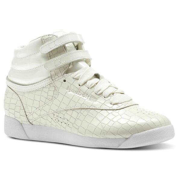 REEBOKFREESTYLEHICRACKLE女鞋休閒高筒鱷魚紋耐磨米白【運動世界】CN2193