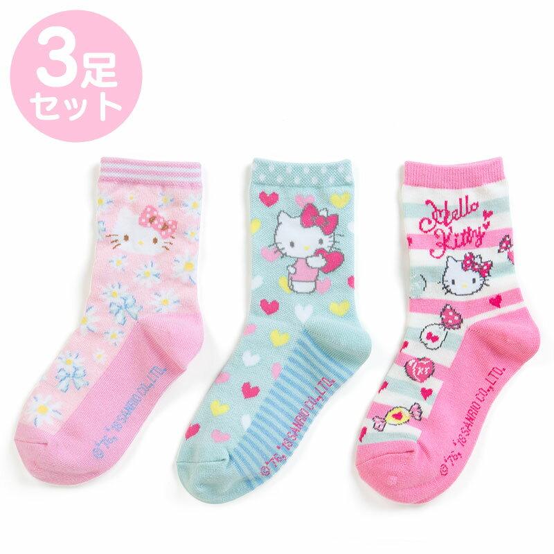 【真愛日本】三入造型襪子-KT花花加ABV 三麗鷗 kitty 凱蒂貓 兒童雨鞋