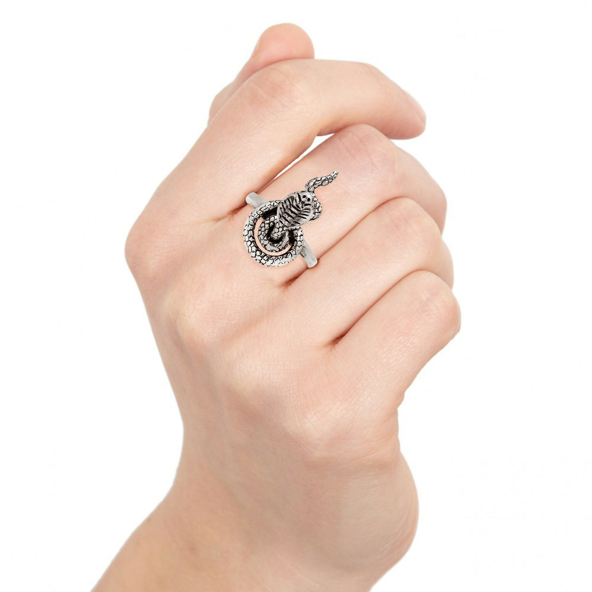 Fatal King Cobra Snake Movable Head Sterling Silver Ring (Thailand) 4