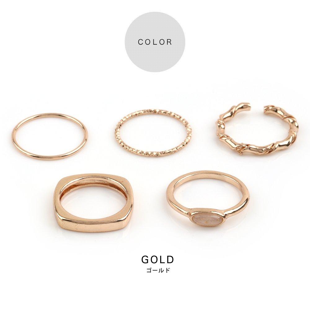 日本CREAM DOT  /  5点セットリング 指輪 金属アレルギー ニッケルフリー レディース セットリング 重ねづけ 重ね付け 10号 13号 ファッションリング 大人カジュアル シンプル 可愛い ゴールド シルバー  /  qc0470  /  日本必買 日本樂天直送(1290) 2