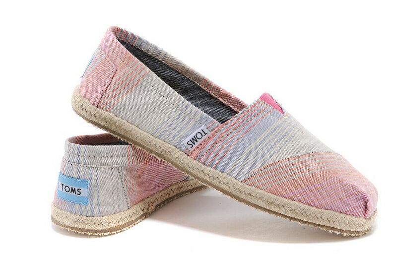 [女款] 國外代購TOMS 帆布鞋/懶人鞋/休閒鞋/至尊鞋 亞麻系列  亞麻底彩條粉 2