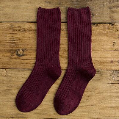 網紅款堆堆襪女日系秋冬襪子純棉款女士襪子純色學院風百搭中筒襪 8