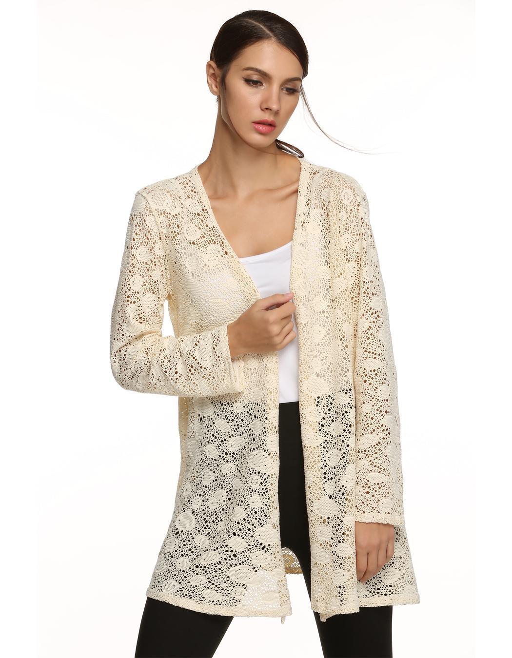 Women Long Sleeve Hollow Out Crochet Long Cardigan Tops 2