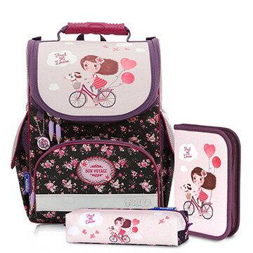 帝安諾 - 實體店面 Tiger Family超輕量書包+文具袋+鉛筆盒-單車少女I-TGNQ-027AF