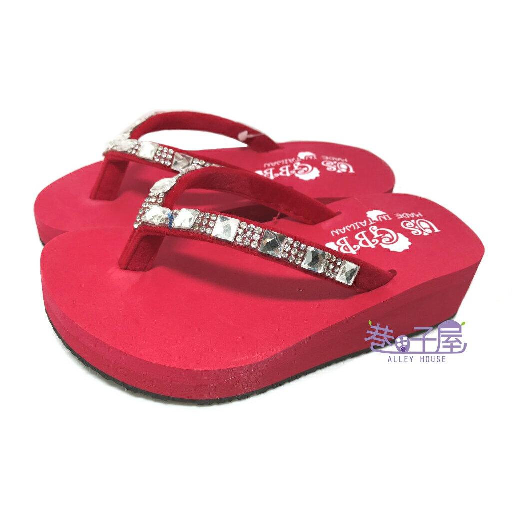 【零碼出清-19/20號】女童亮鑽夾腳拖鞋 人字拖鞋 [2152] 紅 MIT台灣製造 超值價$100