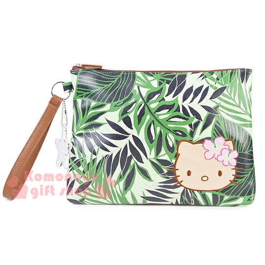 〔小禮堂〕Hello Kitty X Iolani 皮革手拿包《綠.大臉.夏威夷風.葉子》附手腕掛帶