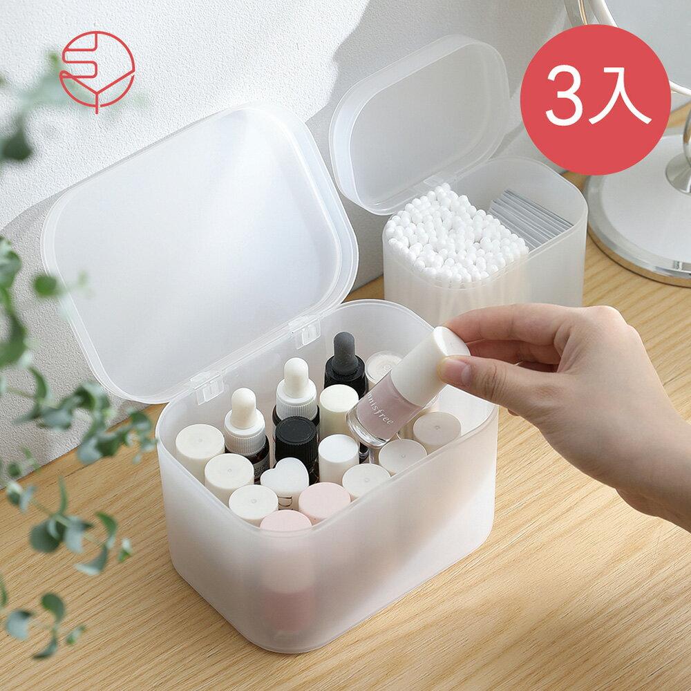 【日本霜山】無分隔霧透PP多用途收納盒(附蓋)-3入(儲物 整理 儲納 小物 塑膠 日系 無印)
