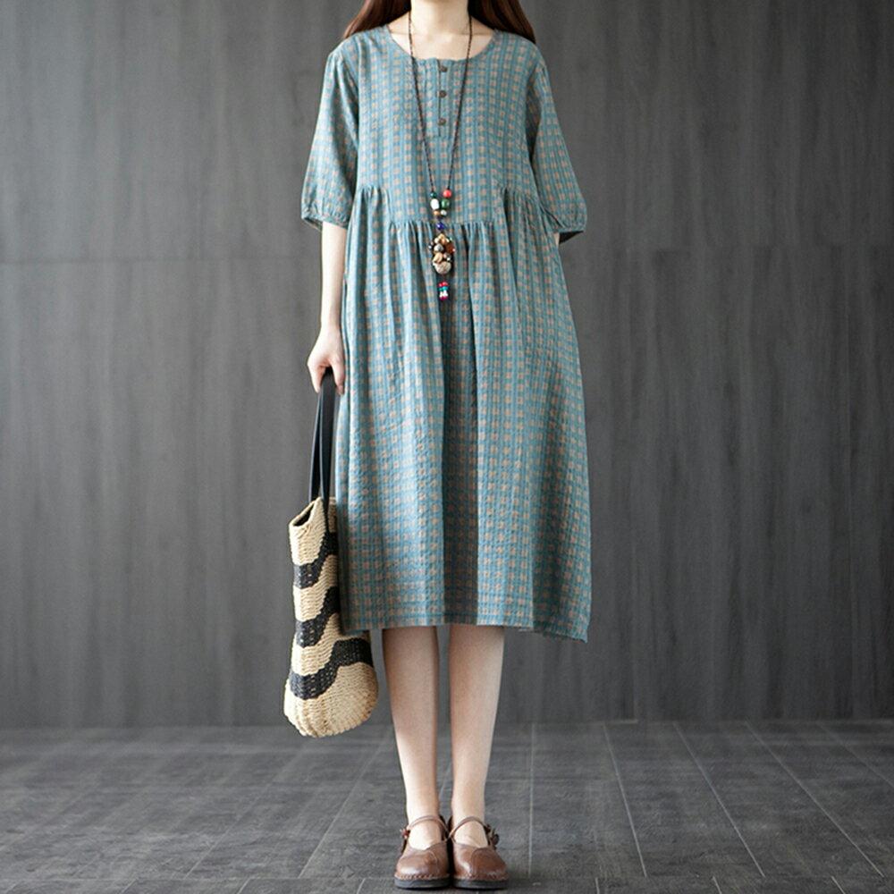 韓版格子拼接收腰印花連身裙(2色M~2XL)*ORead* 0