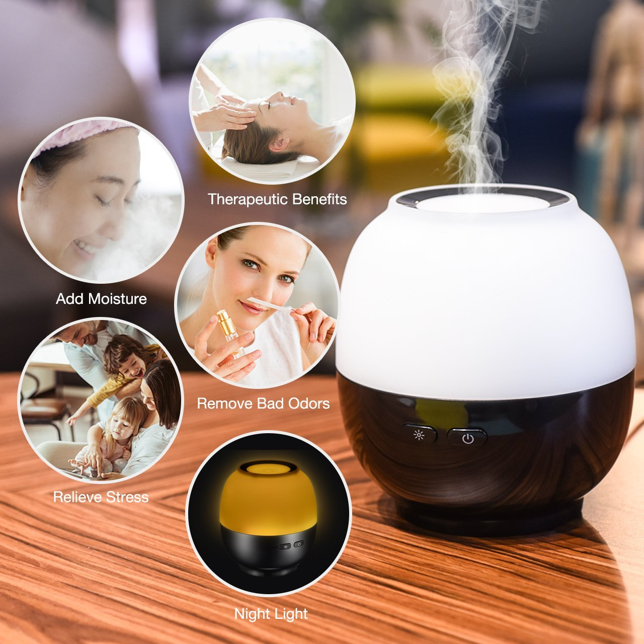 VicTsing Essential Oil Diffuser, 140ml Aroma Essential Oil Diffuser with 7-Color LED Light, Waterless Auto-Off Function, Whisper-Quiet Operation, Suits for Home, Yoga, Office, Spa, Bedroom, Baby Room 5