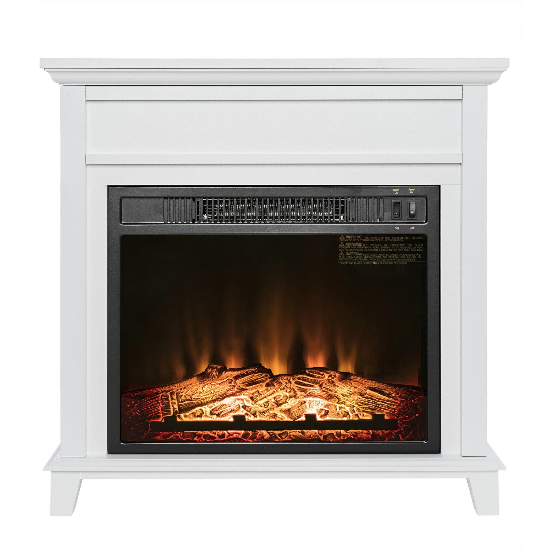 "AKDY 27"" Electric Fireplace Freestanding White Wooden Mantel Firebox 3D Flame w/ Logs Heater 0"