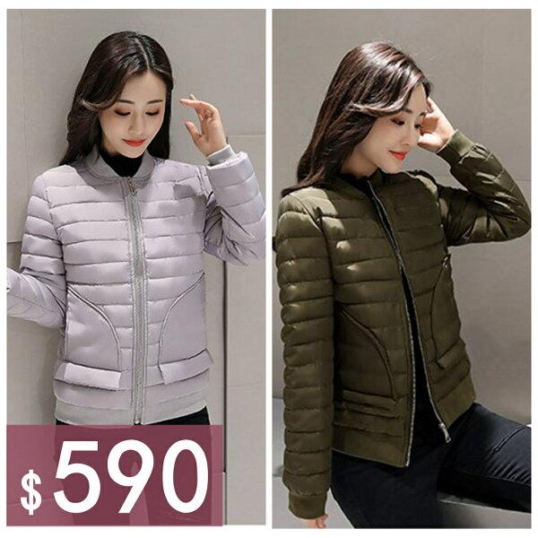 零國界:小立領個性保暖拉鍊修身雙口袋長袖羽絨棉外套