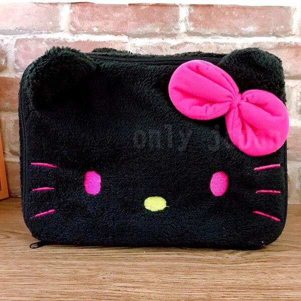 【真愛日本】14041500007絨毛手提化妝包-大臉黑三麗鷗凱蒂貓kitty手提包化妝包絨毛小物收納