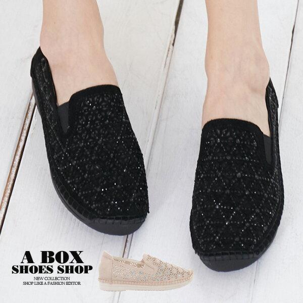 【KNBCD-3311】圓頭包鞋方便套腳懶人鞋透氣雕花蕾絲絨面2.5CM跟高2色
