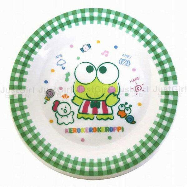 三麗鷗大眼蛙盤子陶瓷盤餐盤圓盤格紋餐具正版日本製造進口JustGirl