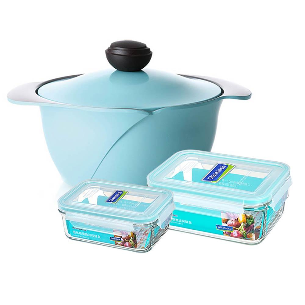 韓國 Chef Topf La Rose玫瑰薔薇系列24公分不沾湯鍋(藍色)+保鮮盒2入/韓國製造/不沾鍋/洗碗機用/最美鍋具 1