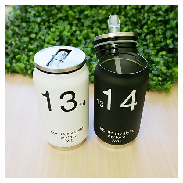 【aife life】350ml易開罐保溫瓶/304不鏽鋼/1314一生一世輕便隨身瓶/個性時尚環保杯/運動水壺