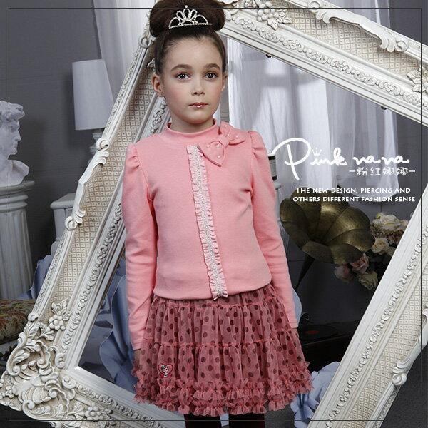 PINKNANA蝴蝶結造型棉質上衣(粉色)28125