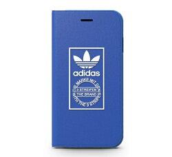 【adidas Originals】iPhone 7/i7(4.7吋)藍色 經典設計-翻蓋式手機保護殼 可收納卡片/手機套/保護套/手機殼