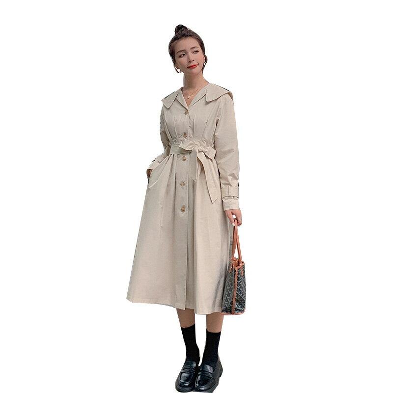 風衣大衣長款外套-單排扣高腰繫帶及膝女外套3色73yt14【獨家進口】【米蘭精品】