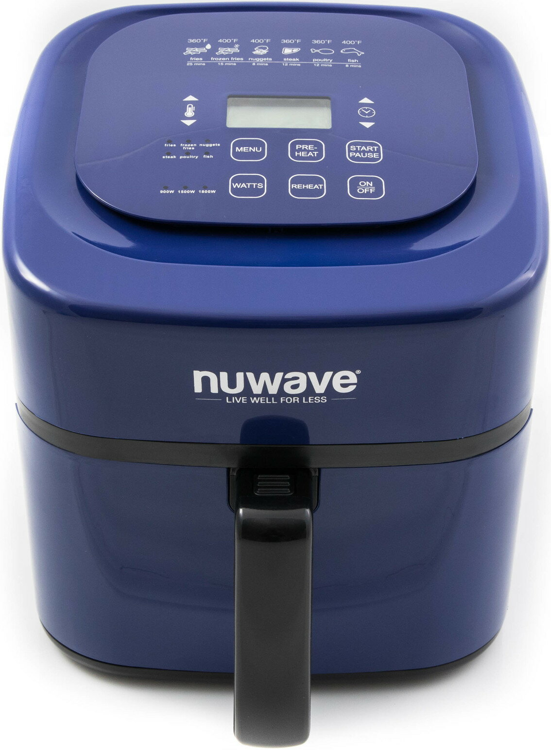"NuWave Brio Digital Air Fryer (6 qt, Blue) with ""Air Fry Everything"" Cookbook 1"