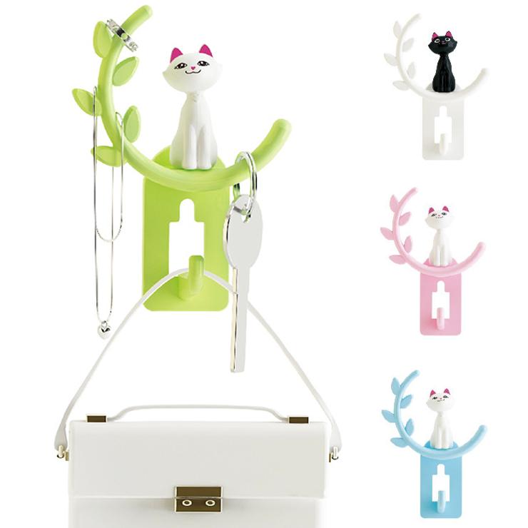 《波卡小姐》4色貓咪無痕多用途掛勾 衣服包包掛架 門後浴室掛勾 鍋具湯勺掛架 創意居家收納 日韓可愛動物雜貨Zakka