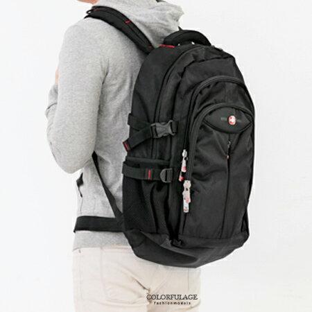 精緻厚實尼龍舒適減壓雙肩後背包 大容量可放17吋筆電 柒彩年代【NZ453】實用機能包款 0