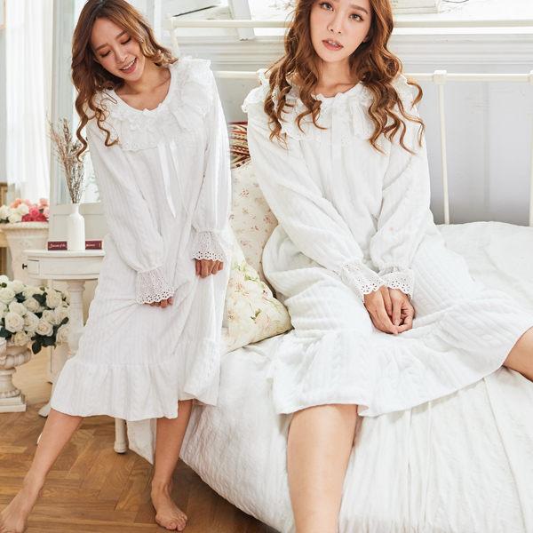 秋冬睡衣氣質公主風睡衣-睡裙(兩色:粉、白)-保暖、居家服_蜜桃洋房