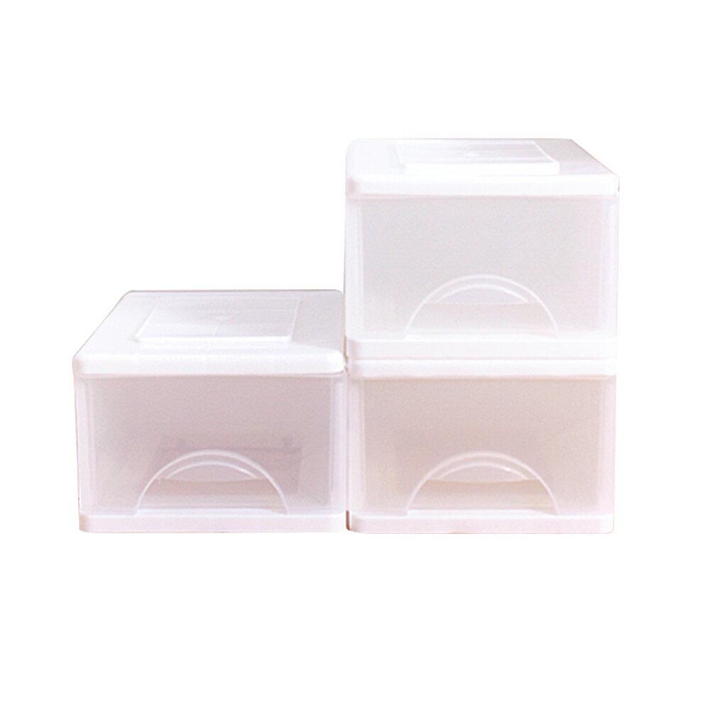 E&J【652037】Mr.box小純白一層收納櫃9L(3入) 收納箱/整理箱/收納袋/衣櫃/衣櫥