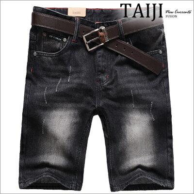 牛仔短褲‧黑色刷白素面牛仔單寧短褲‧一色【ND33008】-TAIJI-水洗刷色抓皺破壞