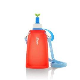 【淘氣寶寶】韓國Sillymann100%兒童便攜捲式鉑金矽膠水瓶300ml甜椒紅【保證原廠公司貨】