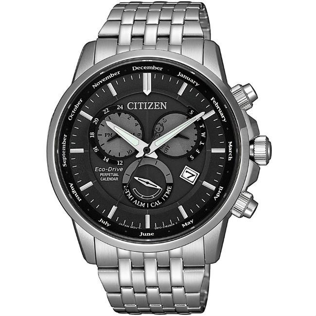 CITIZEN 星辰錶 BL8150-86H GENT'S 光動能萬年曆三眼腕表 / 黑x銀 42mm