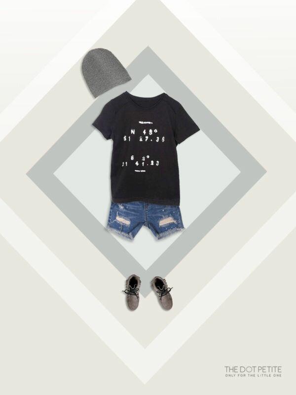 THE DOT PETITE中韓時尚童裝 男童上衣_黑色數字造型全棉T/上衣/T恤
