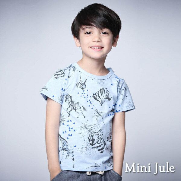 《MiniJule童裝》上衣動物幾何三角竹節棉短袖T恤(藍)