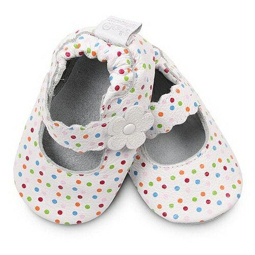 【HELLA 媽咪寶貝】英國 shooshoos 安全無毒真皮手工鞋/學步鞋/嬰兒鞋_白色繽紛點點小花_VWH44 (公司貨)