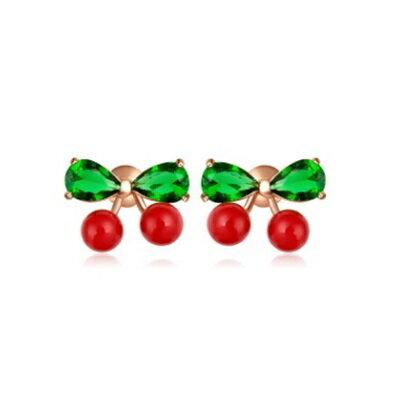 ~純銀耳環鍍18K金鑲鑽耳飾~ 小巧精緻櫻桃情人節生日 女飾品73cr329~ ~~米蘭