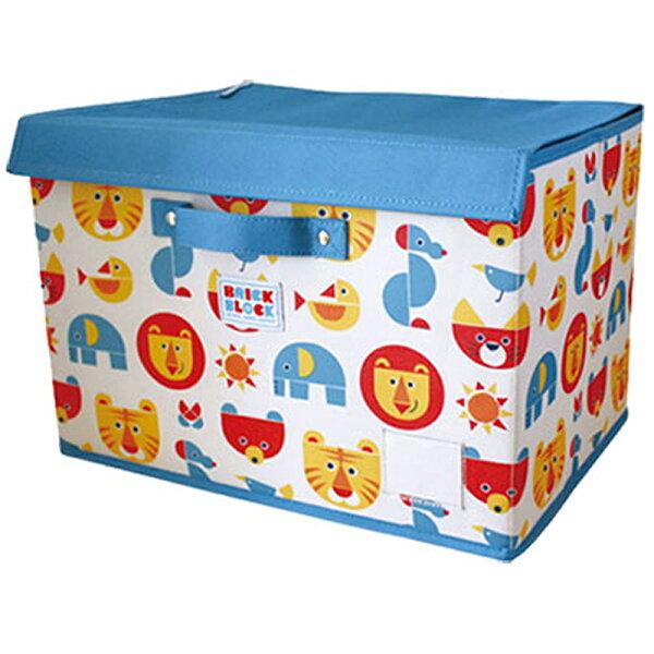 日本DECOLE動物圖案收納箱(藍色L)