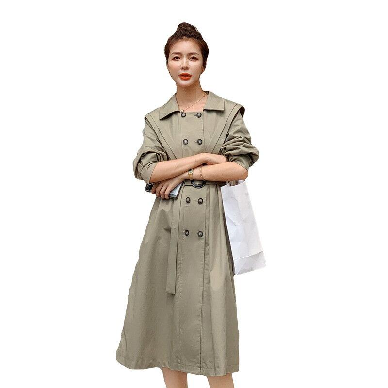 風衣大衣長款外套-雙排扣海軍領寬鬆繫帶女外套73yt9【獨家進口】【米蘭精品】