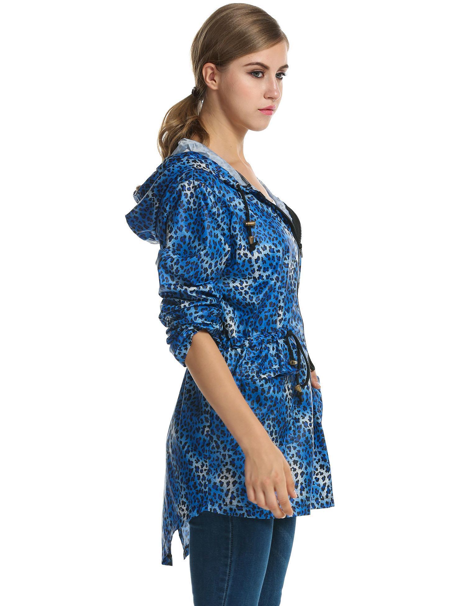 Women Leopard Fishtail Waist Drawstring Hooded Long Raincoat 1