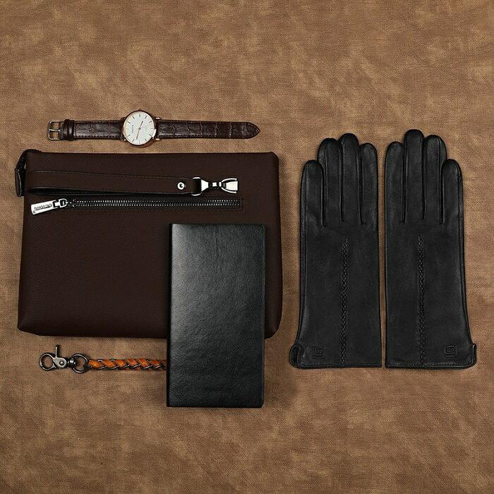 女士觸屏加絨保暖真皮手套(L) [大買家] 2
