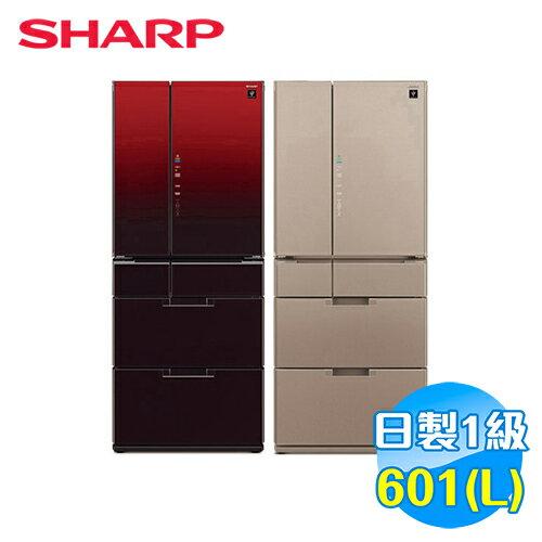 SHARP 601L 變頻 6門鏡面對開冰箱 SJ-GF60BT 【送標準安裝】