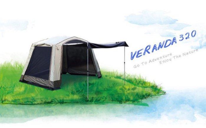 【H.Y SPORT】TURBO TENT Veranda 320 客廳帳 (快搭 客廳帳 淺綠色版) 快搭帳/帳篷