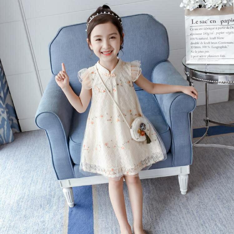 全館【88】折-5女童漢服夏裝連身裙洋裝2019新款洋氣6中國風兒童裝夏天旗袍裙子8歲9
