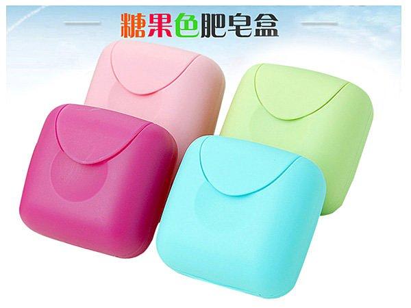 BO雜貨【SV6124】韓系 糖果色帶扣鎖便攜旅行皂盒 創意家居旅行便攜香皂盒有蓋肥皂盒