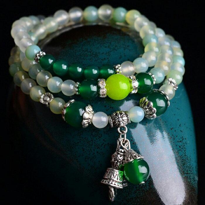 tangyizi輕鬆購【DS057】時尚創意多層多圈流行綠葡萄瑪瑙佛珠手鍊手飾