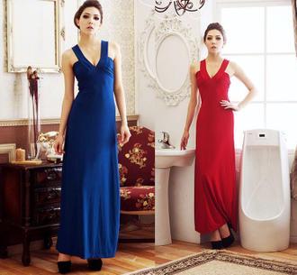 天使嫁衣【HL501】紅色中大尺碼深V美溝性感洋裝小禮服˙現貨